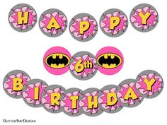 Flying Super Hero party Pink BATGIRL super por GlitterInkDesigns