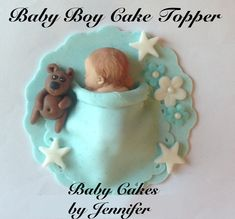 EDIBLE BABBY SHOWER cake topper baby boy Fondant Teddy Bear stars decorations first birthday baby blanket tiffany blue. $25.00, via Etsy.
