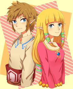 Link (Left) and Zelda (Right) from The Legend of Zelda: Skyward Sword
