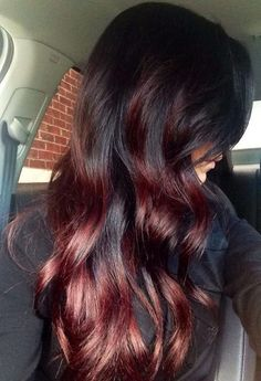 Red Black Ombre Hair 2016 Long Curled Dark Red Auburn Ombre Hair With Black Monogram Red Black Ombre Hair Red Black Auburn Ombre, Brown Ombre Hair, Auburn Hair, Ombre Hair Color, Cool Hair Color, Red Hair, Dark Red Ombre, Hair Colour, Dark Brown