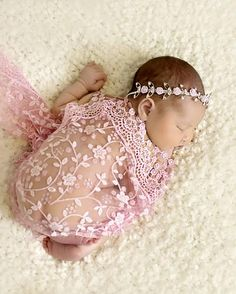 Pink Lace Wrap and Headband, Wrap Set, Fringe Lace Wrap, Baby Headband, Newborn Photo Prop, Baby Girl Prop