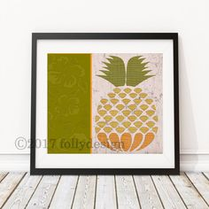 Artist Shanni Welsh's Tropical Orange and Green Pineapple art print.