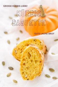 Kürbis Rezept - Leckeres Brot mit Kürbis! Das Kürbis Baguette ist einfach und leicht zu backen. Nach einem Rezept von https.//herzelieb.de