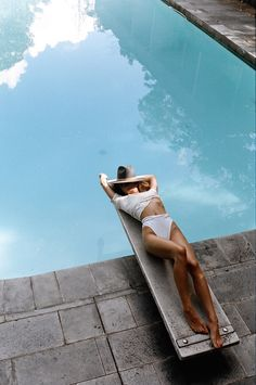6cdf25e21e summer moodboard poolside fedora hat alexandra spencer by brydie mack  Diving Board, Pool Photography,