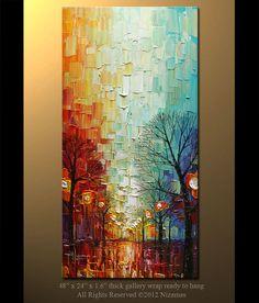 ORIGINAL Oil Painting Modern Fine Art Palette Knife Oil Abstract  Landscape  by P. Nizamas