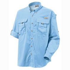 Columbia Men's Bahama II Long Sleeve Shirt Lightweight, durable, 100% nylon dries fast. Omni-Shade UPF 30 sun protection. Mesh-lined cape vents at back shoulder. Button-down collar. PFG convertible sleeve tabs. Two big chest pockets. Columbia logo on left chest. PFG logo on vented back. SKU FEYBJ-ICBOJ