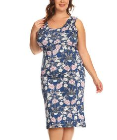BellaBerry USA Blue & Pink Floral Sleeveless Dress - Plus | zulily