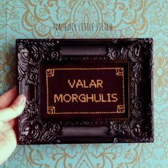 MADE TO ORDER-Valar Morghulis - Finished and framed cross stitch - Game of Thrones on Etsy,