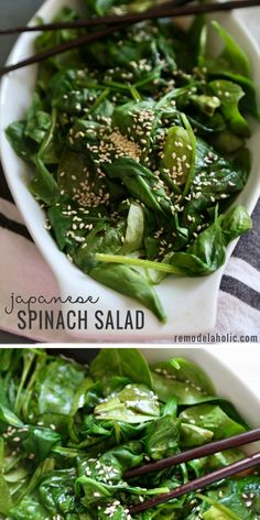 The perfect veggie side for Asian dishes. Try this recipe for Japanese Spinach Salad at Remodelaholi Japanese Vegetables Recipe, Easy Japanese Recipes, Asian Vegetables, Asian Recipes, Healthy Recipes, Meal Recipes, Cake Recipes, Japanese Side Dish, Japanese Salad