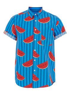 Chemise à manches courtes bleue rayée - Chemises Hommes  - Vêtements Homme