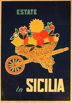 Original Vintage Posters -> Travel Posters -> Estate in Sicilia - Summer in Sicily - AntikBar