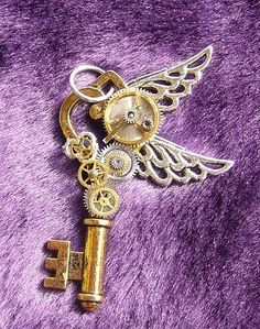 Art: Aero- Steampunk Heart key necklace by Artist Christina M Givens-Goodwin