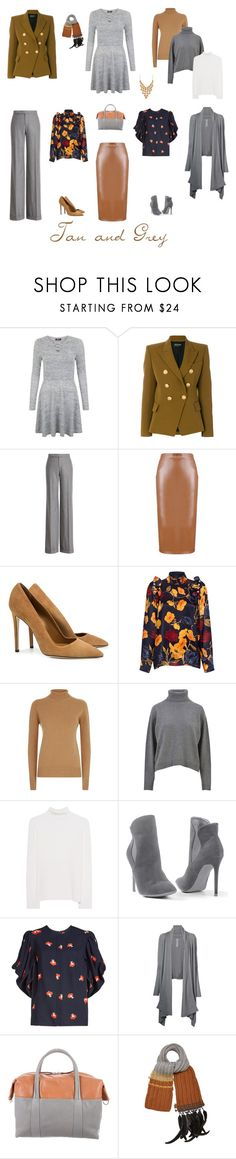 """Tan and Grey"" by cokie61 on Polyvore featuring Balmain, Ralph Lauren Collection, SUNO New York, Mother of Pearl, Victoria Beckham, Dolce&Gabbana, Victoria, Victoria Beckham, Venus, Rick Owens and Maison Margiela"