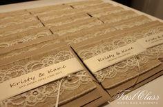 Rustic Invitation with Lace - First Class Weddings & Events. Brisbane Wedding Decorators. #rusticinvitation