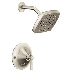 Moen Flara Eco Shower Pressure-Balanced Shower Faucet with Posi-Temp Finish: Brushed Gold Shower Fixtures, Tub And Shower Faucets, Bathroom Faucets, Brushed Nickel Faucet, Polished Nickel, Shower Arm, Rain Shower, Gold Chrome