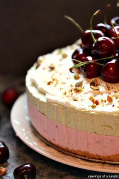 Cherry and Pistachio No Bake Cheesecake with Animal Cracker Crust | This recipe will impress your friends and family. That is, if you share ...