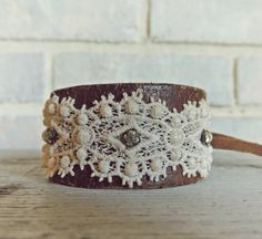Leather And Lace Cuff / Rustic Romantic Jewelry / Vintage Rhinestone Bracelet / Boho Chic Jewelry / Western Cuff / Lace Accessory /OOAK Gift