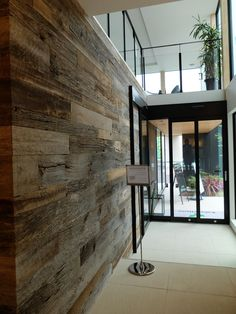 American Prairie (barn wood) is used as paneling in a Japanese office space. Barn Siding, Vertical Or Horizontal, Basement Ideas, Barn Wood, Walls, Exterior, Japanese, Space, American