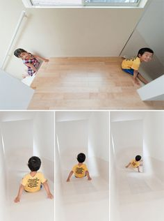 """Le Corbusier said that a modern house should be """"a machine for living"""". Well, this house is a machine for sliding. And people who are able to slide from their bedroom to their breakfast table must be smiling more than people who use normal staircases. You know, going back to childhood and to doing things …"""