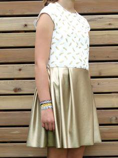tienerjurk, dress, kleedje, jurk, goud leer, dress like a lady