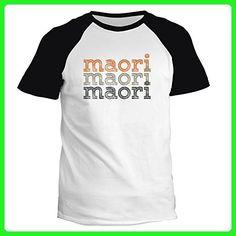 Idakoos - Maori repeat retro - Languages - Raglan T-Shirt - Retro shirts (*Amazon Partner-Link)