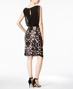 Calvin Klein Sequined Lace Blouson Dress - Black/Nude 8