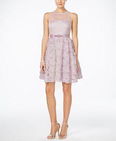 219.00$  Buy now - http://vijzw.justgood.pw/vig/item.php?t=24r78v426581 - Floral-Appliqué Illusion Fit & Flare Dress