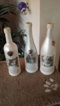 vintage look up-cycled wine bottles
