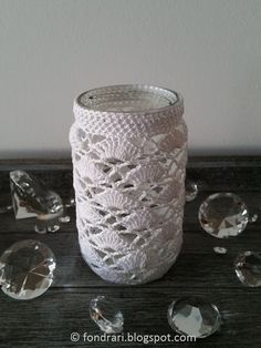 Hekluð krukka # 2 - uppskrift / Crochet jar cover # 2 - pattern