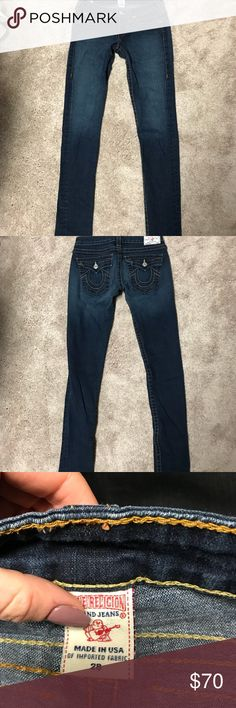 True Religion Super Skinny Jeans Traditional True Religion soft denim. Nice stretch, I love these jeans so much, super sad they don't fit me anymore. They're probably the most flattering pair of jeans I've ever worn. Great condition. True Religion Jeans Skinny