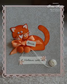 "Cat punch art uses the following punches -  1-1/4"" Circle Punch 1-3/4"" Circle Punch 1/16"" Circle Handheld Punch Scallop Trim Border and Corner Punches Two-Step Owl Punch Heart to Heart Punch Modern Label Extra-Large Punch Jewelry Tag Medium Punch"