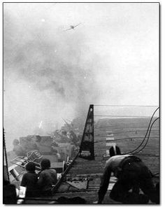 Kamikaze attacks -- when zealous Japanese pilots suicide-bombed their own planes into high-value targets ~  2,800 kamikaze planes sunk around 40 Navy ships and damaged 350 others.