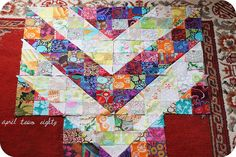 Kaffe Fassett inspired block by April Two Eighty.  Love the tones.