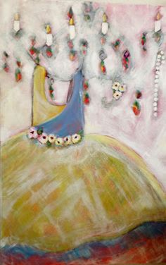 """She twirls until she falls down and giggles So, this week I spent time in the studio (supposedly cleaning it) and voila, this painting showed up.  I am enjoying the layers.  Hope you do to.  It is 24 x 36"""".  My name is Bonnie Taylor Talbot and ipaintpictures."""