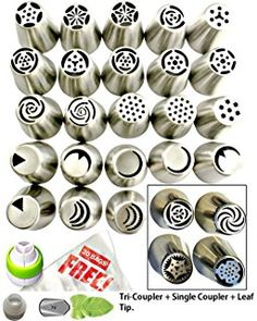 Russian Piping Tips 50pcs Icing Tips Cake Decoration tips Set 27 Piping Nozzles 20 FREE Bags 2 Couplers + 2Leaf Tip DELUXE Cake Piping Icing Nozzles Baking Supplies Kit Gift Box + Instructional Videos