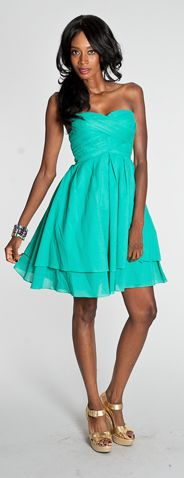 Turquoise dress by Jessica Simpson, $57 -- perfect!! dress for wedding if it was pink