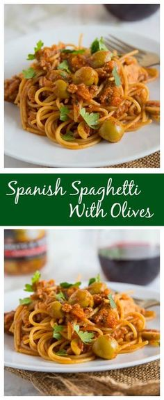 Spanish Spaghetti with Olives – a Spanish twist on your classic spaghetti with meat sauce!  A quick and easy dinner the whole family will love! Read more at http://dinnersdishesanddesserts.com/spanish-spaghetti-with-olives/#dm7Fo10ADEfASOjB.99