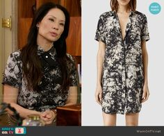 Joan's black and white printed shirtdress on Elementary.  Outfit Details: http://wornontv.net/54246/ #Elementary