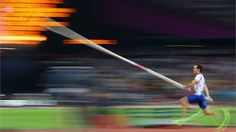 Renaud Lavillenie of France competes during the men's Pole Vault final on Day 14.