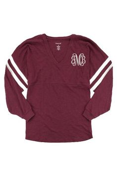 Look no further for your go-to tee. This lightweight top is perfect for fall. This versatile women's tee layers easily and goes with everything. Whether you're layering for the weather, or settling in for the night, our women's long-sleeve Varsitee is the comfort you'll want every time! Varsitee Slub Tee, Maroon #ewamboutique #varsitee #gameday #gamedaycolors