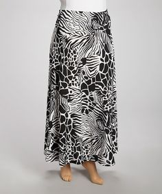 Take a look at this Black Zebra & Giraffe Maxi Skirt - Plus by Avital on #zulily today!