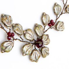 Green and Red Choker Necklace Flower by CherylParrottJewelry, $58.95
