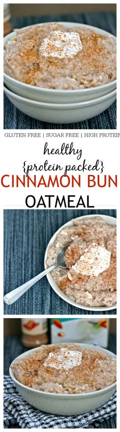 Healthy Cinnamon Bun Oatmeal- The taste and texture of a classic cinnamon bun in a healthy oatmeal form- This comforting bowl of goodness if gluten free, sugar free, chock full of protein and a sinfully nutritious start to the day- Just like dessert for breakfast! @thebigmansworld -thebigmansworld.com