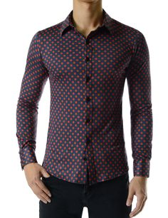 6e73cb660e1e (CEL60) Mens Slim Fit Regular Collar Stretchy Comfortable Dot Pattern Shirts