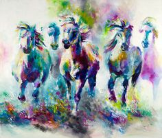 Katy Jade Dobson 'Chroma Equus' Oil Painting - The Spectrum Collection