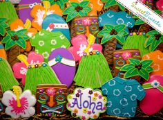 LOVE THESE!  The Tiki's are particularly sweet.  SweetTweets Hawaii Luau Tropical Summer by SweetTweetsOnline.via Etsy.