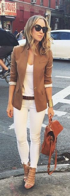 Tan jacket over all white.