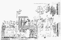 """Reconstrucción de un fragmento del """"Friso de la Investidura"""" (h.1770a.C). Arte babilónico"""