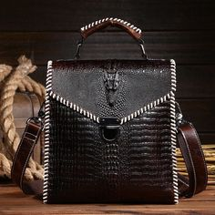 BICOLOR Unique Edition Vintage Business Men Messenger Bags High Quality Genuine Leather Bag Men Alligator Pattern Shoulder Bag