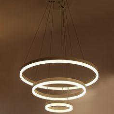 Belecome Moderne pendentif lumières pour salon salle à manger 3 Cercle Anneaux Led Lustre acrylique corps en aluminium LED plafonnier